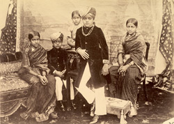 [Group portrait of] the Maharaja [of Mysore] & his brothers and sisters.